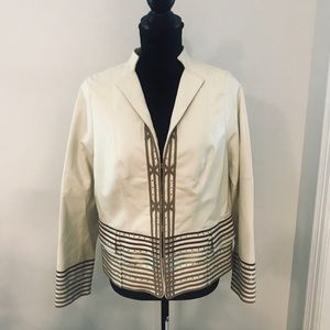Worth cream leather jacket  with piping detail